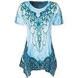 SEWORLD Damen Sommer Lässige O-Ausschnitt Plissee Übergröße Kurzarm Milchseide Drucken Bluse Top Tunika Shirt (S, Blau)