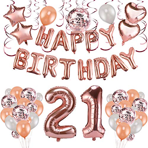 Geburtstag deko für Frau und Mädchen, 59 Stück Happy Birthday Girlande Banner Luftballons Set Helium Folie Herz Ballon für 21 Geburtstag Dekoration ()