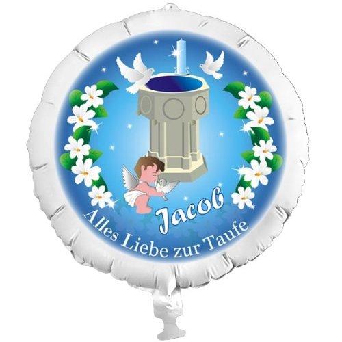 Personalisierter Foto-Ballon zur Taufe für Jungen, mit individuellen Namen, mit Helium befüllbar, in XXL, ohne Heliumfüllung