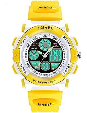 Sportuhren Herren Gelb Analog und Digital Uhren für Kinder Multifunktions Silikon Bügel Uhr