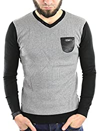 Solamode - Pull Homme Col V - Rivaldi - Guyermo - Fashion - Gris clair