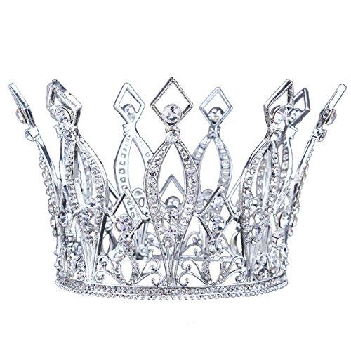 """Santfe 4 """"Altura Lujo Full Corona Corona Tiara Pageant de novia Prom Boda Chapado En Oro Rhinestone Crysta (2)"""