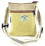 Guru-Shop Hanf Schultertasche, Hippie Tasche, Nepal Tasche - Gelb, Herren/Damen, Weiß, Size:One Size, 20x17x4 cm, Alternative Umhängetasche, Handtasche aus Stoff