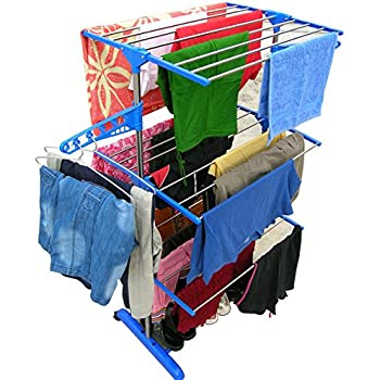 Brother Three Layer Clothes Rack Hanger With Wheels For Drying Clothes