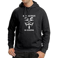 Sudadera con capucha The Revolution Is Coming: la máscara de hackers anónima, V for Vendetta (X-Large Negro Blanco)