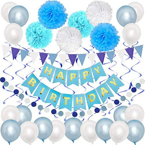 TOPWINRR Deko Geburtstag Mädchen Junge Luftballons Kindergeburtstag Dekoration Set Geburtstagsdeko Happy Birthday Girlande, Blau Weiss