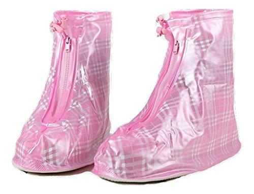 colordrip kariert Überschuhe REIßVERSCHLUSS Plaid Schuhe Cover, rose (Pink) - OS310090 (Plaid Pink)