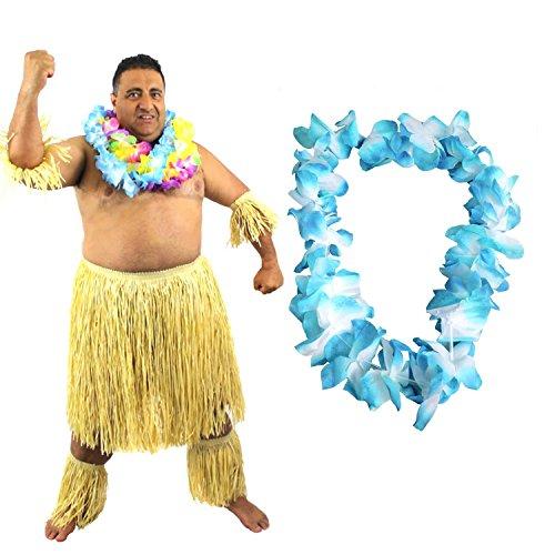 Kostüm Hawaiianer - ILOVEFANCYDRESS Hawaiianer SÜDSEE Zulu KÄMPFER KOSTÜM VERKLEIDUNG=6 TEILIG=1 Blaue LEI/BLUMENKETTE+2 Bein Stulpen+2 ARM Stulpen+BASTROCK= HÜFTUMFANG UNGEFÄR -81-142cm+LÄNGE UNGEFÄHR - 58cm