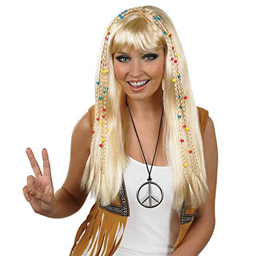 Womens Beaded Hippie Wig Blonde, One Size