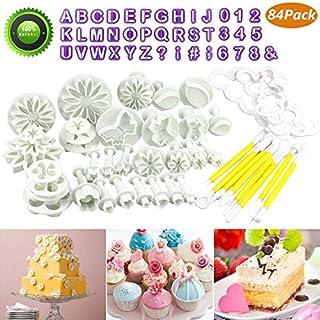 Buluri 84 Pcs Fondant Cutters Tools Set - DIY Fondant Cake Decorating Cutters Icing Sugarcraft Tools Kits - for Cake Decorating,Fondant,Syrup Biscuits,Almond Sugar,Sugar Craft
