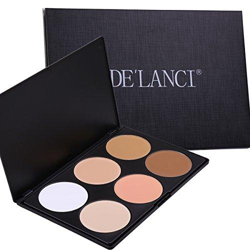 Billig Up Make Kits (DE'LANCI Professional 6 Warm Colors Cosmetic Foundation Concealer Camouflage Contour Makeup Palette Set Face Contouring Kit by)