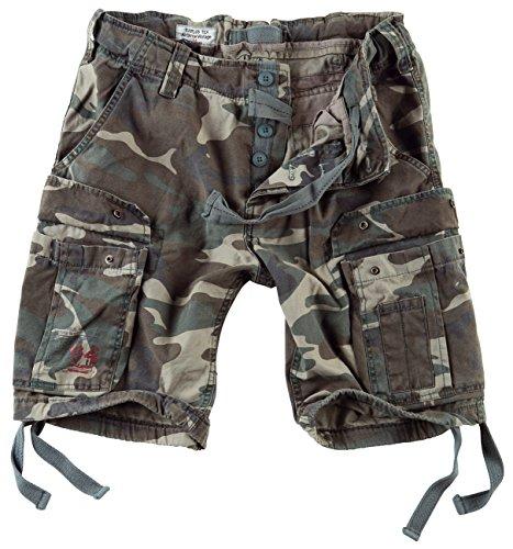 DELTA Herren Airborne Vintage Cargo Shorts, Woodland, Größe XXL (Frau Shorts)