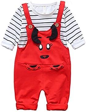 Pantalones de niño de niño Kid Pantalones de becerro de dibujos animados y camisa de manga larga a rayas Top 2...