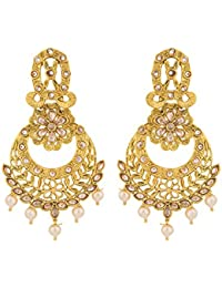 Voylla Gold-Plated Spark Route Filigree Dangler Earrings For Women
