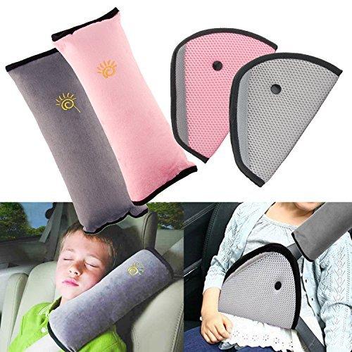 BEYUMI Schlafkissen Nackenstütze für Kinder Auto Baby Kind Sicherheitsgurt Autositz Kopfkissen Gürtel Pillow Schulterschutz (2 Stück Kissen & 2 Stück Rosa Kissen Car Safety Cover