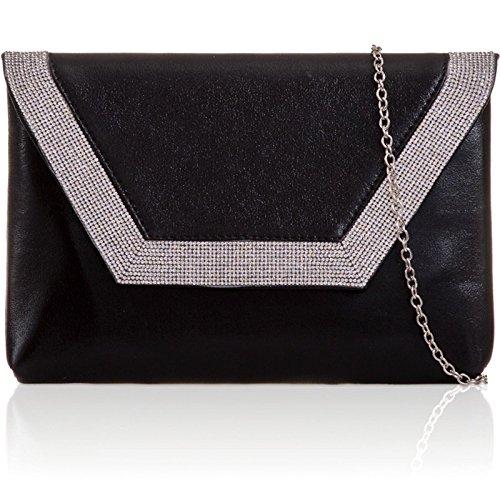 xardi London metallico piatto Busta Frizione PU Pelle Donna Diamante Sera Sposa Sacchetti Black