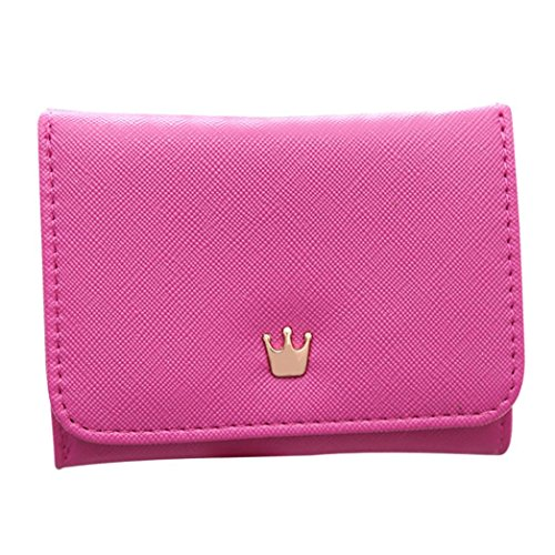Borsellino Donna in PU Pelle , Portafoglio per Carte di Credito Tinta Unita rosa caldo