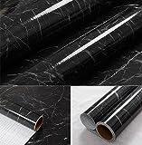 """wDragon negro gris mármol autoadhesivo brillante lámina de vinilo Peel Stick encimera de cocina Papel pintado de vinilo 24""""X79"""", 24in X 79in"""