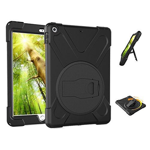 Preisvergleich Produktbild iPad Pro 9.7 Hülle, Asnlove 360 Grad Drehbare Robustes Kunststoff Hard Case mit Displayschutz - Ausklappbarer Standfuss für Apple iPad Pro 9.7 Zoll - Schwarz
