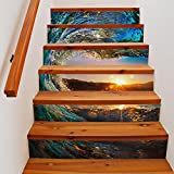 L-com LLL Treppenhaus Aufkleber Wasserdicht Selbstklebend Seewasser Sonnenuntergang Blau Landschaft 3D DIY Wandgemälde 18 * 100cm*6pcs, Mehrfarbig