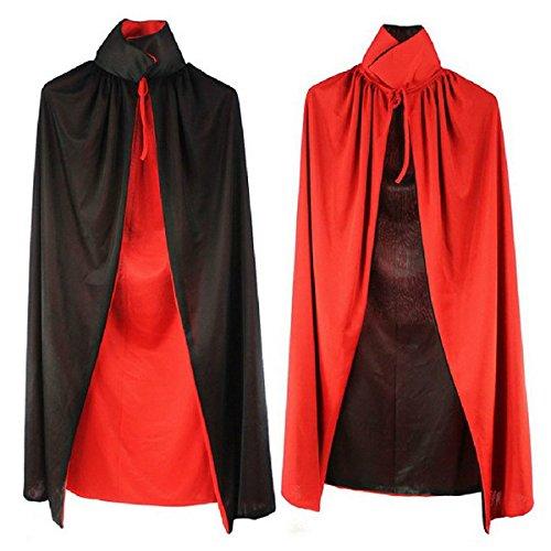 nschichtige Stand Kragen Erwachsene Umhang Cape Cosplay Umhang Prop für Halloween-Masquerade (Schwarz + Rot) (Teenager-vampir-mädchen Halloween-kostüme)