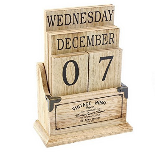 Vintage Wooden Perpetual Calendar - Desk Top Eternal Calender Blocks