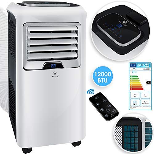 KESSER - Klimaanlage Mobiles Klimagerät 4in1 kühlen, Luftentfeuchter, lüften, Ventilator - 12.000 BTU/h (3.500 Watt) 3,5 KW Klima + Montagematerial Fernbedienung und Timer Nachtmodus EEK: A Weiß