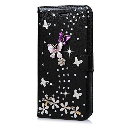 Mavis's Diary iPhone 7 Plus(5,5 Zoll) Case Lila Flipcase Holster Handmade 3D Muster Gold Schmetterling Tasche PU Ledercase Cover Hüllen Schutzhülle Scratch Bumper Fall Euit Bookstyle Magnetverschluss  Schwarz