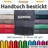 Handtuch bestickt mit Ihrem Namen oder Wunschtext - Personalisierte Frottee Handtücher besticken lassen als Geschenk in vielen Größen und Farben verfügbar, Hochwertige 100% Baumwolle 550 g/m² (Badetuch 100x150 cm, Weiß)