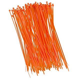 100 pieces of cable ties, 200 mm x 2.5 mm, for shading net, fencing fence in orange