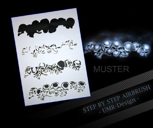 Step by Step Airbrush Schablone Schädel AS-065 (Schädel Malen Schablonen)