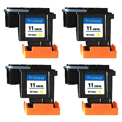 Teng® 4 x Druckkopf gelb HP 11 C4813A kompatibel für HP Business Inkjet 2200 2250 2280 2600 2800 HP Designjet 110 NR 10PS 20PS 50PS 500 800 - 11 Gelb Druckkopf