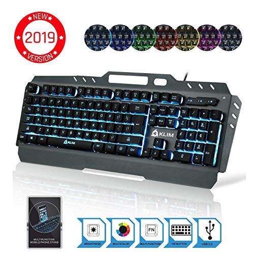KLIM Tastiera - Nuova Versione - Tastiera Semi-Meccanica US Ibrida - Scelta di 7 Colori + Garanzia di 5 Anni - Struttura Metallica - Tastiera per Gaming Videogiochi - con PC PS4 Windows, Mac