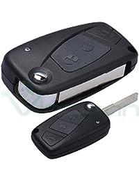 Carcasa dura para llaves, mando a distancia, 3 botones, plegable, compatible con Fiat Grande Punto Stilo Panda Idea Doblo Ulysse Ducato