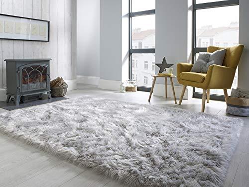 - Lord of Rugs - - sehr weicher, zotteliger Teppich aus Kunstfell in Grau und Elfenbein, grau, 160x230 cm (5'3''x7'7'')