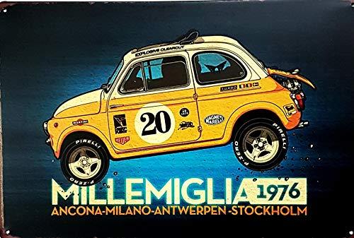 tiv Millemiglia 1976 Auto gelb 30 x 20 cm, zur Dekoration von Hauswänden, Tienda, Garage, Bar, Pub ()