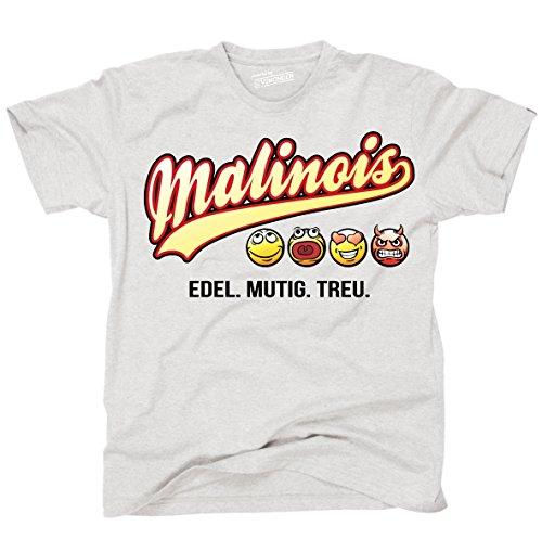 Siviwonder Unisex T-Shirt MALINOIS - OLD SCHOOL SCHRIFT Hunde Ash