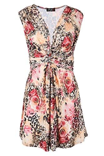Damen Low Cut V Ausschnitt Knoten Vorderseite Krawatte Gürtel Zurück Aufgeweitet Swing Gedreht Mini Kleid Übergröße Leopard Gelb