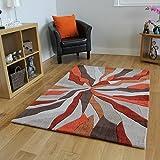 Alfombras Salón Modernas Alta Calidad Diseño Efecto Ondas Naranja & Beige 3 Tamaños- Banbury