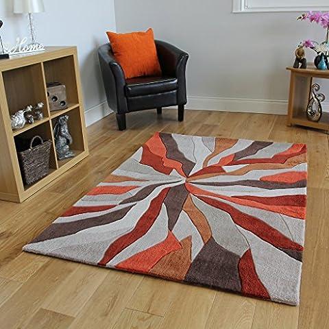 Tapis orange et beige effet vague design moderne de haute qualité salon 3tailles Banbury, orange, 120x170cm (4ftx5ft6