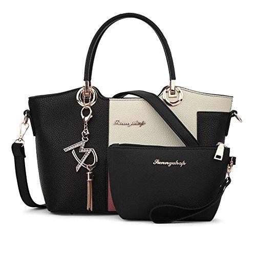 Borse spalla borsa di modo signore sacchetti messaggero donne 2 Pezzi Nero P_Nero