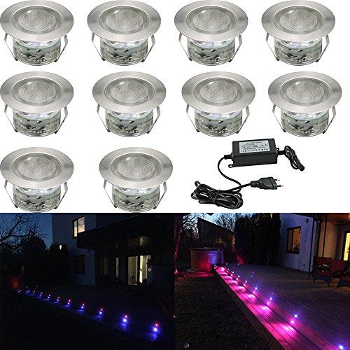 Pack de 10 focos LED empotrables de exterior RGB