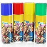 COM-FOUR Set di 4 streamer dalla latta - grande decorazione per la tua festa! - Giallo, verde, blu, rosso (4x 83ml) (004 pezzi - spray 83ml)