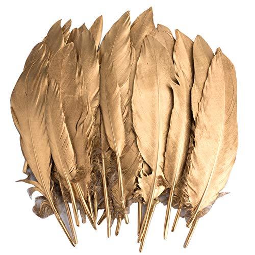 Vidillo Bunte Federn, 40 Stück Gold Gänsefedern, ideal als Dekoration zum Karnival für Halloween Fest Masken, Kostüme und Basteln für Kinder, Sicher und Ungiftig und Nicht verblassen (Feathers J) (Für Mittelstücke Federn)