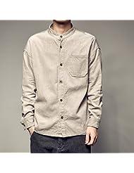 Arte Vintage pana camisa manga larga casual adolescentes masculinos camisas cuello color sólido contra sobretensiones,L