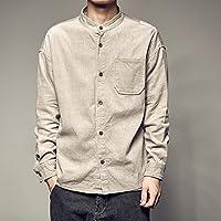 RIVI Arte Vintage Pana Camisa Manga Larga Casual Adolescentes Masculinos Camisas Cuello Color sólido contra sobretensiones,L