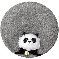 GRACEART Mujeres Hecho a Mano Lolita Boina Gorra Panda (Gris)
