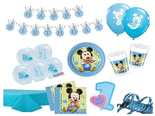 XXL Party Deko Set 1.Geburtstag Mickey Baby Kindergeburtstag für 16 Personen 67 teilig blau Junge