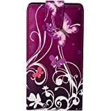Accessory Master Etui en cuir pour Wiko RAINBOW Motif Fleur Violet