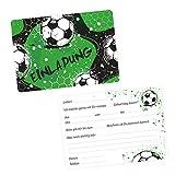 nikima Schönes für Kinder 5 Coole Einladungskarten Fussball grün Schwarz inkl. 5 Transparenten Briefumschlägen Kindergeburtstag Junge Teenager Einladung